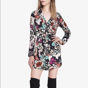 Express floral portofino shirt dress